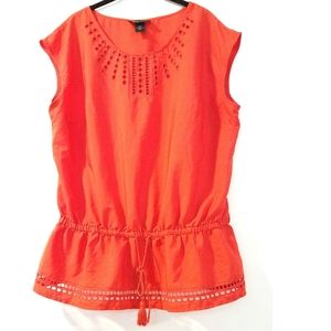 18/20 Lane Bryant Laser Cut Drawstring Peplum Top